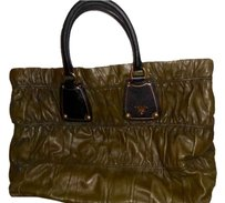 Prada Leather Gold Hardware Fall Winter Tote in Olive Green