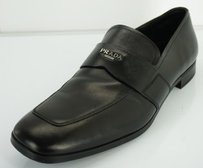 Prada Black Leather Logo Penny Loafers Mens Shoes Moccasins Slip On