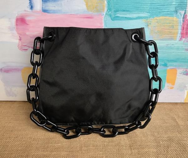 64876c412d57 ... shopping chain strap shoulder bag in black 8d752 d27a7 uk prada nylon  lucite shoulder bag.