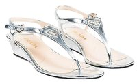 Prada Metallic Thong Silver Sandals