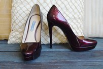 Prada Patent Leather Heels Size 38.5 Maroon Metallic Pumps