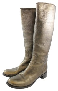Prada Penny Lane Riding Gold Boots