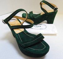 Prada 5m Suede Leather Green Sandals