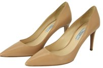 PRADA Pointed Toe Leather Beige Pumps