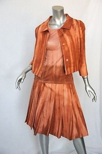Prada Prada Salmonsilk 3-pc Topjacketpleated Skirt Outfit Suit Set 38s 42m