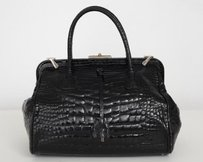 Prada Glazed Alligator Satchel in Black