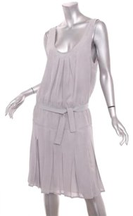 Prada short dress Gray Womens Chiffon Sleeveless Belted Pleated Pockets 426 on Tradesy