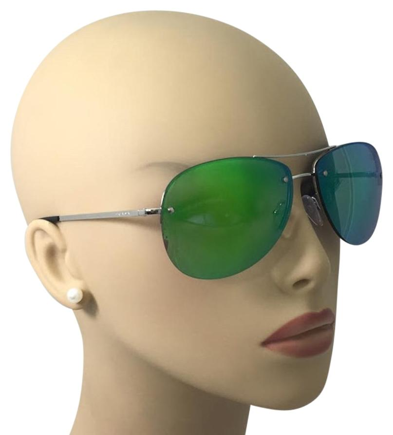 fcc2e9963897 ... new zealand 123456789101112 prada silver black and green mirrored sps  50r 1bc 1mo 59 sunglasses tradesy