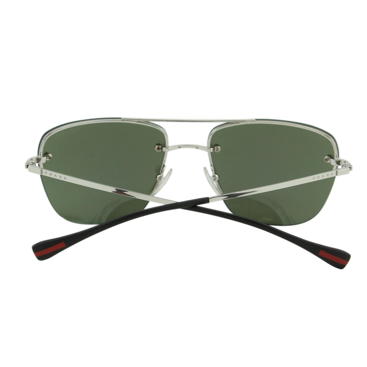 f1b8740ca22a ... best prada silver black new sport ps52r 1bc 5k2 linea rossa men  mirrored rimless sunglasses 223a6