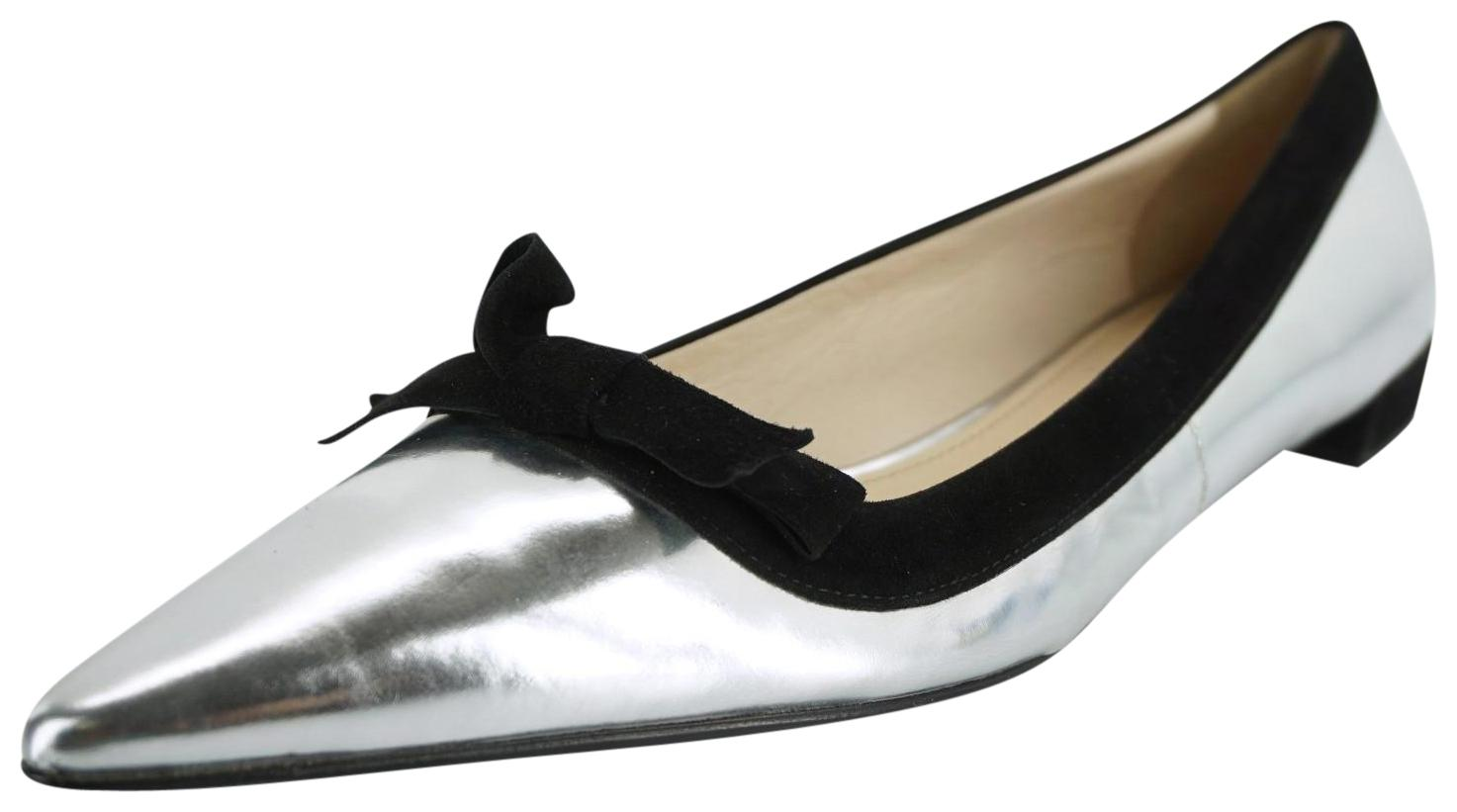 1e6323090b4 Prada Silver Shiny Metallic Leather Pointed Pointed Pointed Bow Toe Ballet  Flats Size EU 39 ...