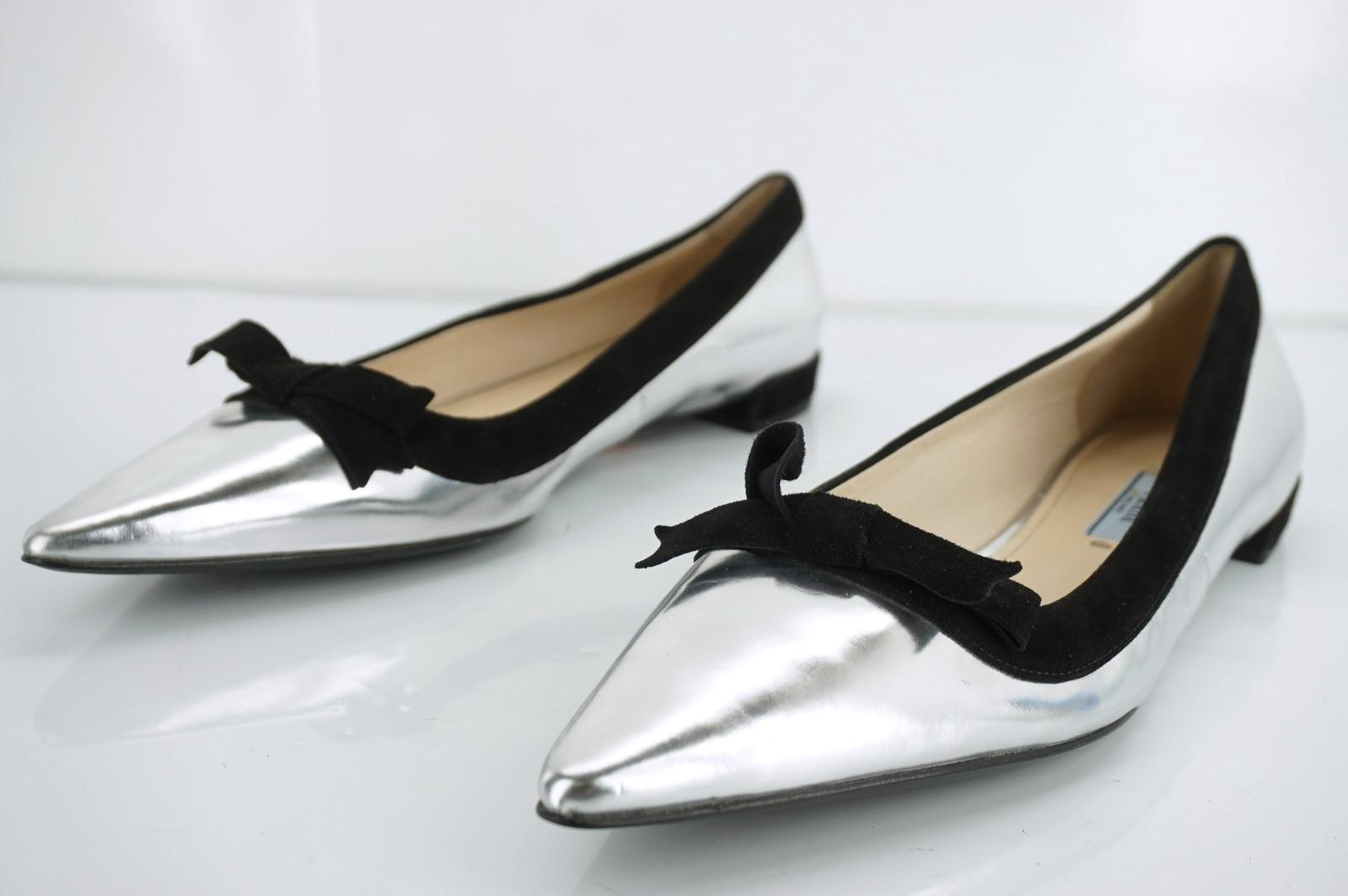 e1cffae9cdf ... Prada Silver Shiny Metallic Leather Pointed Pointed Pointed Bow Toe  Ballet Flats Size EU 39 ...