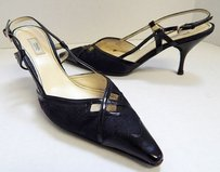 Prada Linen Patent Black Pumps