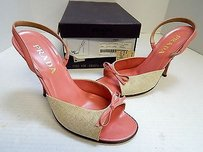 Prada Leather Canvas Slingback Open Toe Heels Italy Pink Pumps