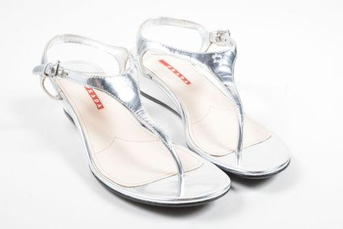 Prada Sport Metallic T-Strap Wedges supply cheap price B3VseKuW