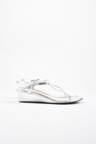 Prada Sport Metallic T-Strap Wedge Sandals