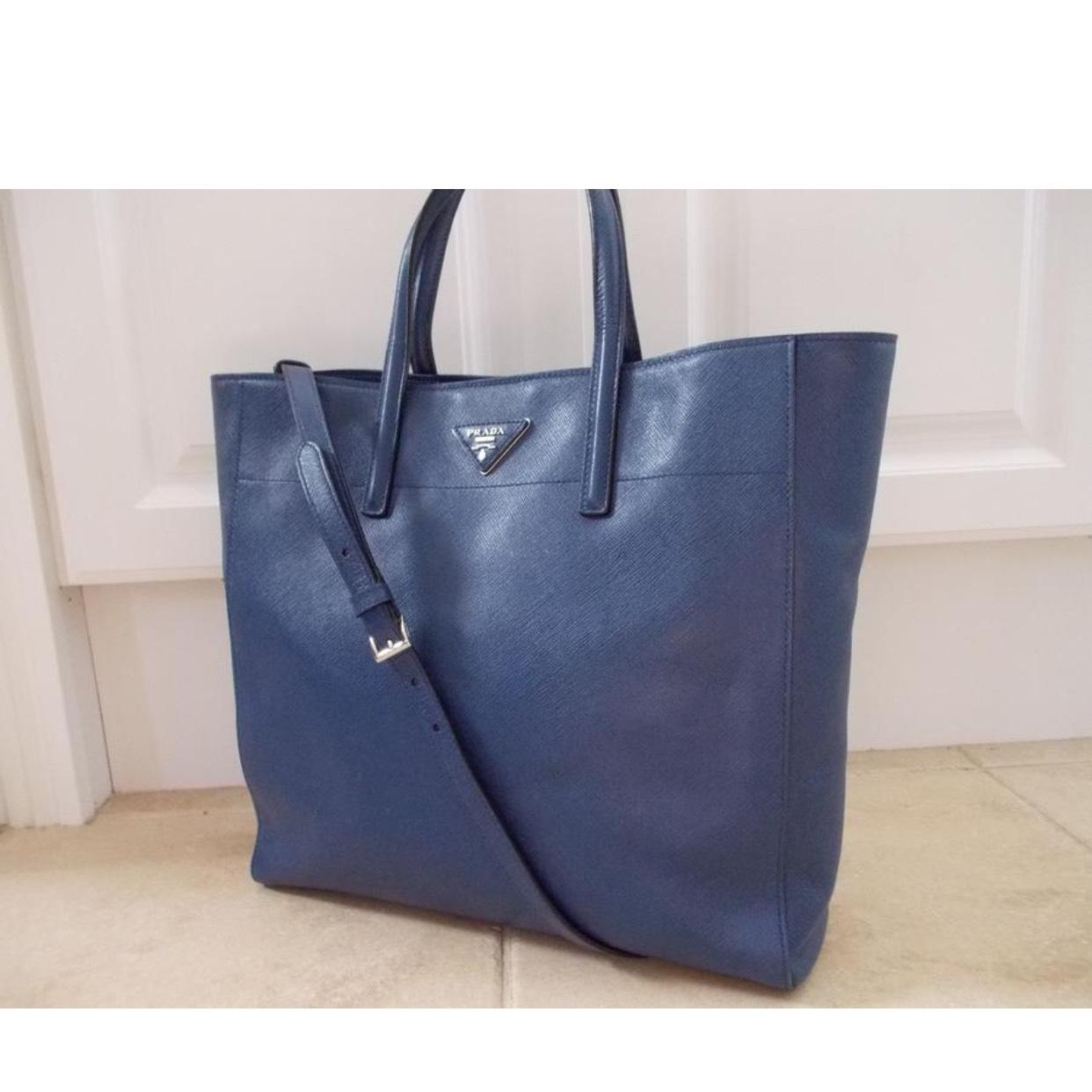 b0728f70f3b7 ... canada prada tote with straps blue saffiano leather cross body bag  tradesy b180e 6cbba