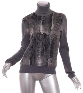 Prada Womens Charcoal Persian Lamb Fur Turtleneck 4610 Sweater