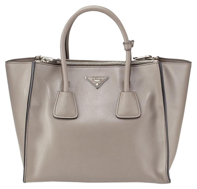9e660bae3542 shopping prada city calf large twin pocket argilla shoulder cross body  leather new silver hardware tote