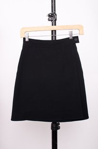 Prada Wrap Button Twill Skirt Black