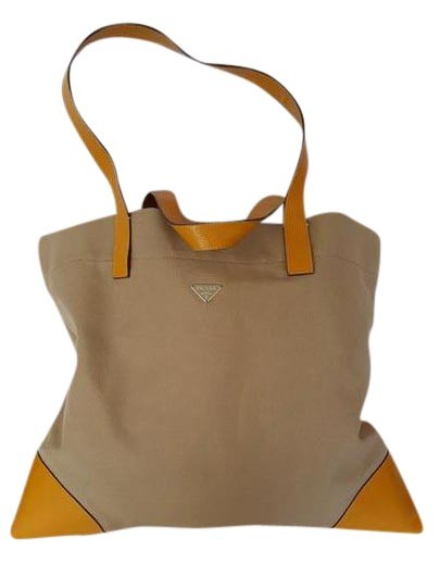 6b7f91653f3f89 ... order prada leather trim strong light yellow trim out of production tote  in beige 02eea 3084b