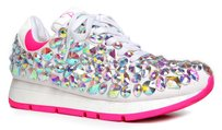 Privileged Sneaker Pointed Toe Lace Up Bejeweled Leather White Athletic