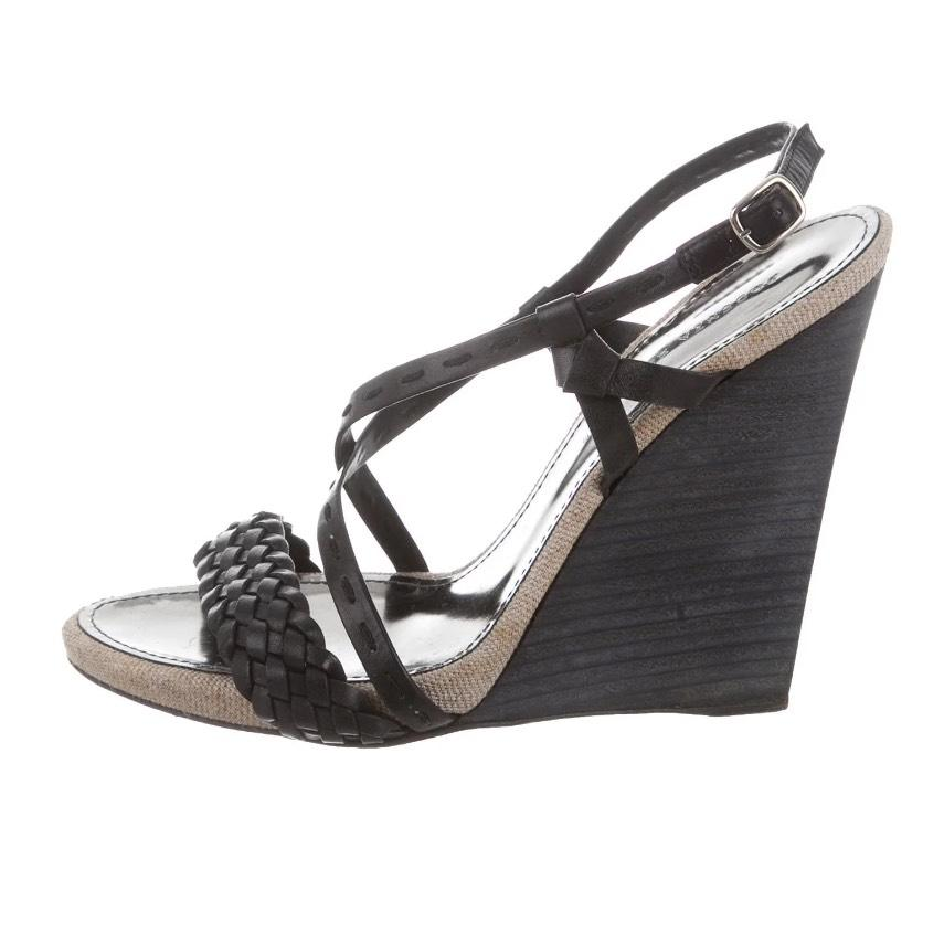 find great discount lowest price Proenza Schouler Woven Leather Crossover Wedges BazMs81hR3