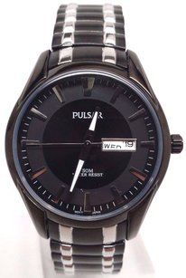Pulsar Pulsar Pj6049 50m Expansion Collection Black Ion Two-tone Mens Watch