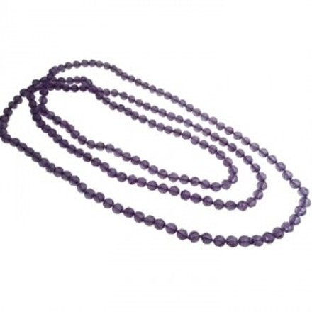 Purple Glass Beads Long Summer Multifaceted Round Beads Necklace Gift