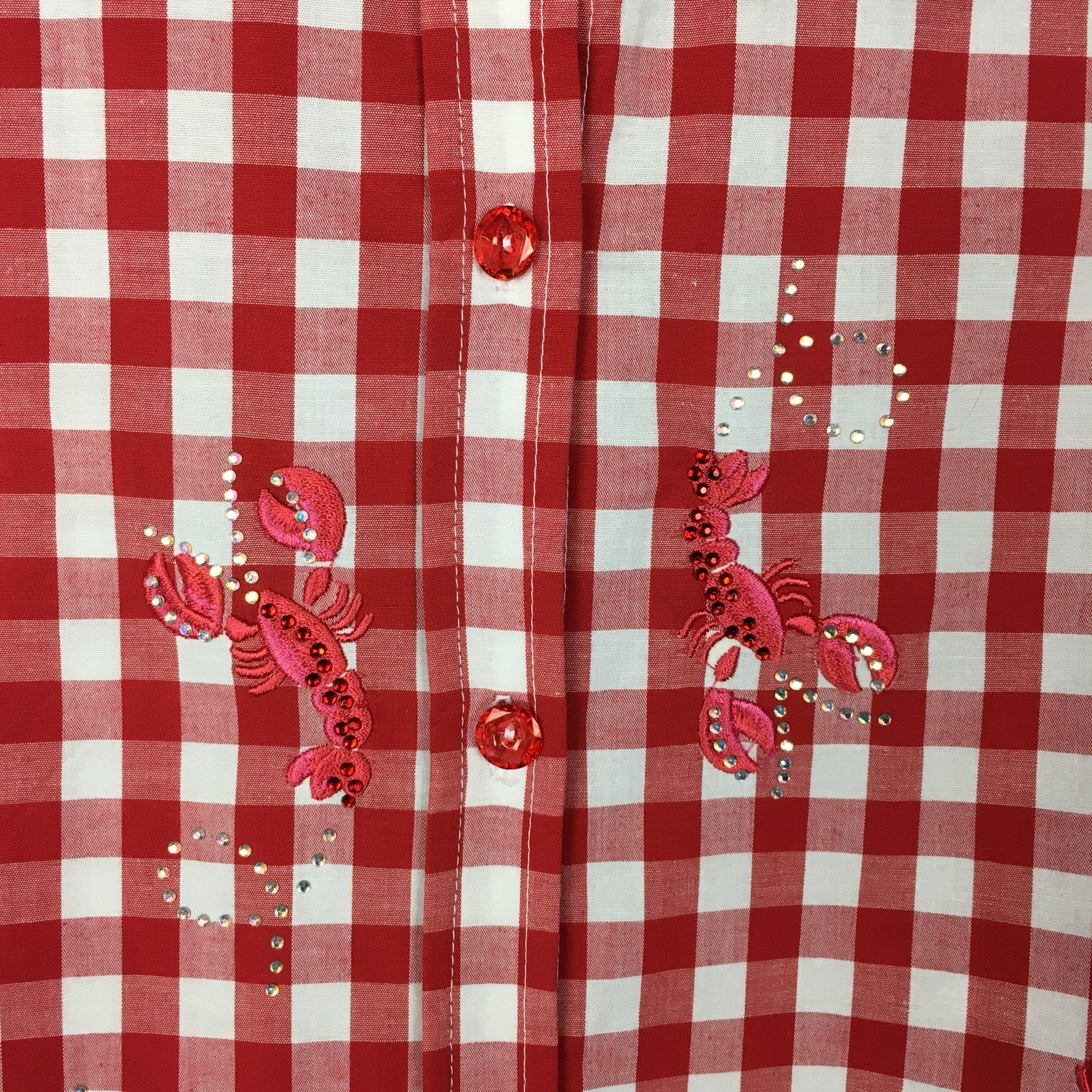 Quacker Factory Red White Gingham Lobster Button Down Top