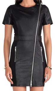 Rachel Zoe Zipper Patchwork Leather Edgy Dress