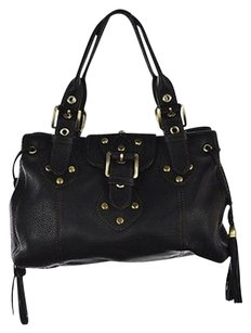 Rafe Womens Leather Solid Casual Handbag Satchel in Black