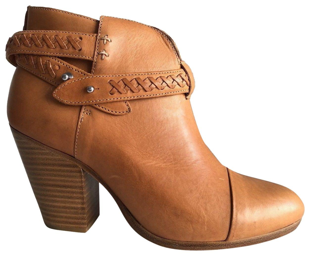 Rag & Leather Bone Natural Harrow Belted Leather & Woven Ankle Boots/Booties Size EU 39 (Approx. US 9) Regular (M, B) 407876