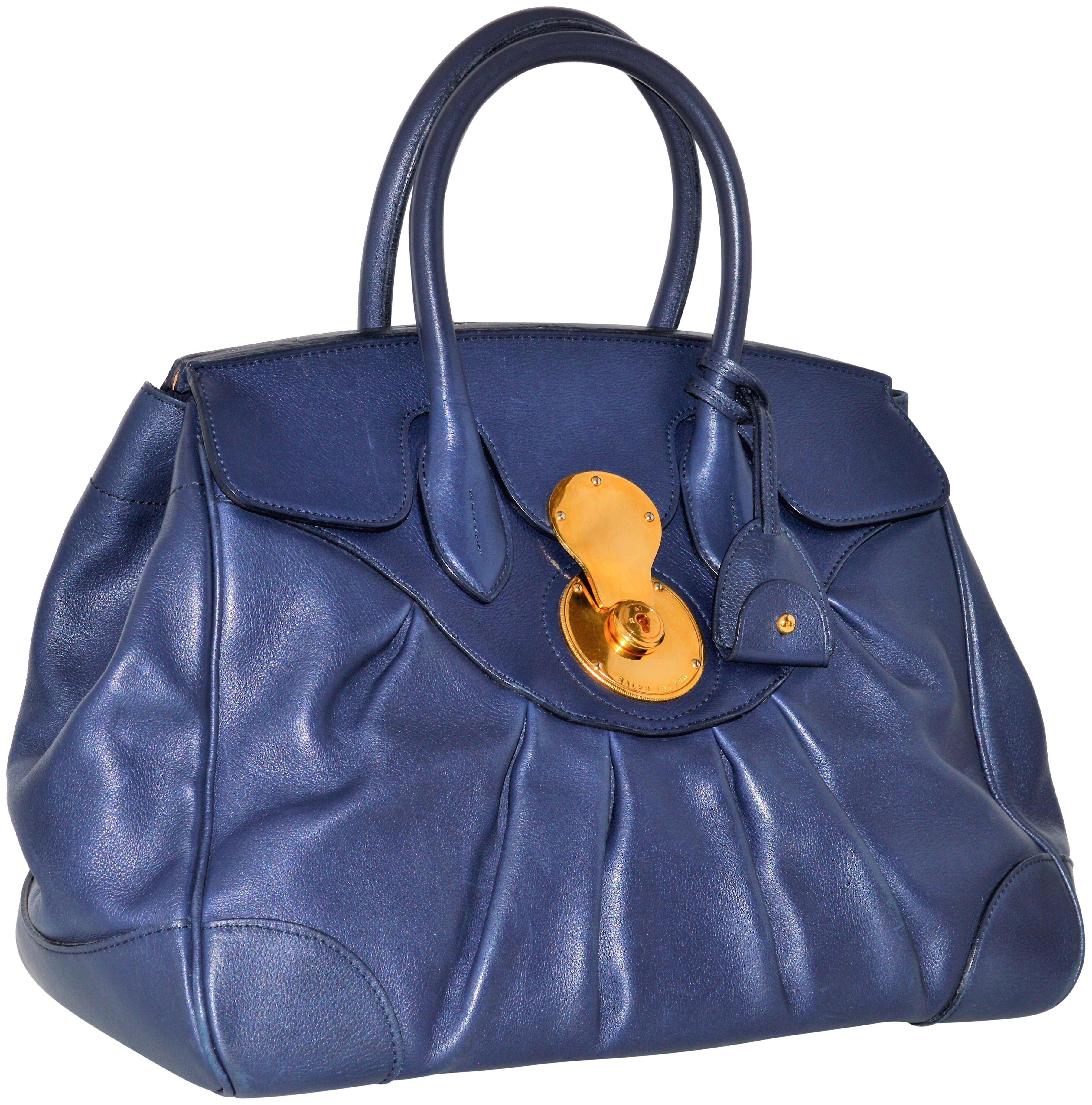 Ralph Lauren Collection Ricky Tote Satchel in blue ...