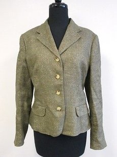 Ralph Lauren Lauren Ralph Lauren Green Gold Metallic Long Sleeve Button Up Blazer R196