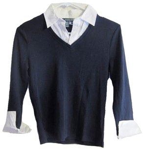 Ralph Lauren Preppy Schoolgirl Sweater Collar Button Down Shirt Navy and White