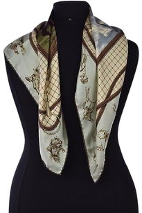 Ralph Lauren Ralph Lauren Collection Purple Label Womens Brown Scarf One Printed