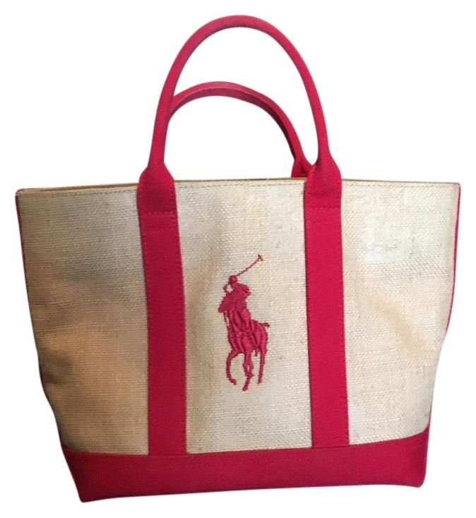 Ralph Lauren Tote in Khaki/red Trim