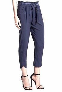 Ramy Brook Allyn Silk Capri/Cropped Pants Navy Blue