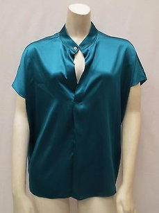 Ramy Brook Zoey Dark Blue Silk Charmeuse Hi Low 160125f Top Teal