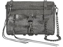 Rebecca Minkoff Gunmetal Caviar Leather Mini Mac Clutch Cross Body Bag
