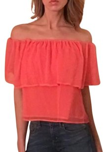 Rebecca Minkoff Off Asymmetric Flowy Short Bohemian Button Down Shirt Pink coral