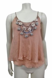 Rebecca Taylor Pom Beaded Top Peach