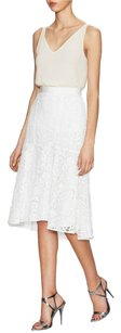 Rebecca Taylor Lace Fluted Cotton High Low Skirt Cream