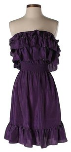 Rebecca Taylor short dress Purple Silk Strapless Ruffle A-line on Tradesy