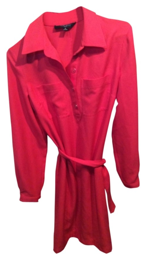 Red Nine West dress. I bought this for work, and never used it. Dress has a tie at the waist. It has a red button on the sleeve by the wrist. It also has two breast pockets. The dress has four buttons at the chest, with a fun collar. Size 8