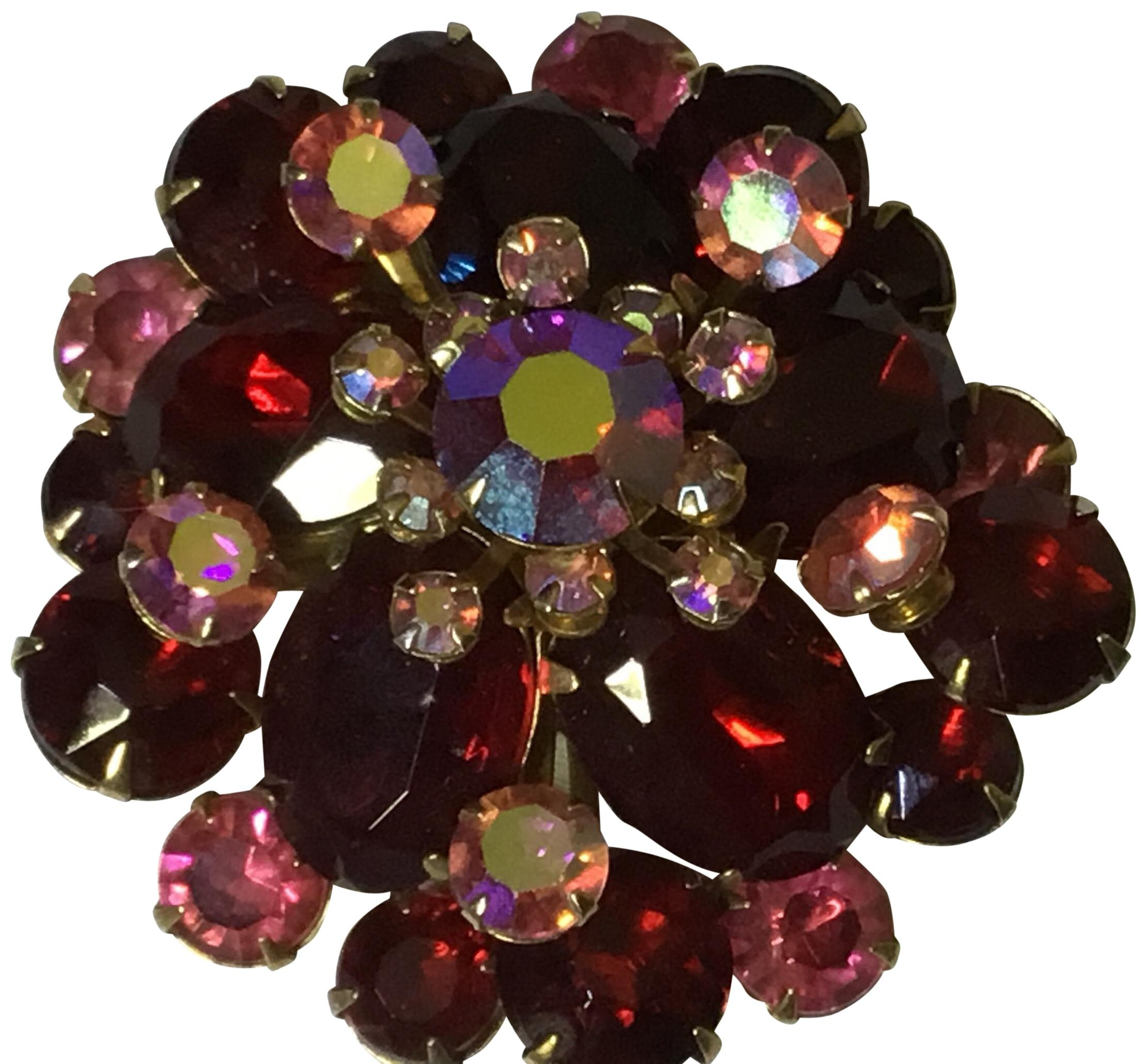 Non Signed 1950u0027s Vintage Red And Pink Rhinestone Brooch ...