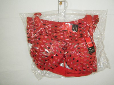 UKRR PANTIES & BRA SET 38B NWT CONTOUR PADDED W BOY SHORTS MED PANTIES RED