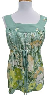 RED Valentino Valentino Blue Green Floral Silk 44 Top Multi-Color