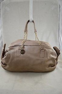 RED Valentino Leather Ruched Bow Side Hand Beige Clutch