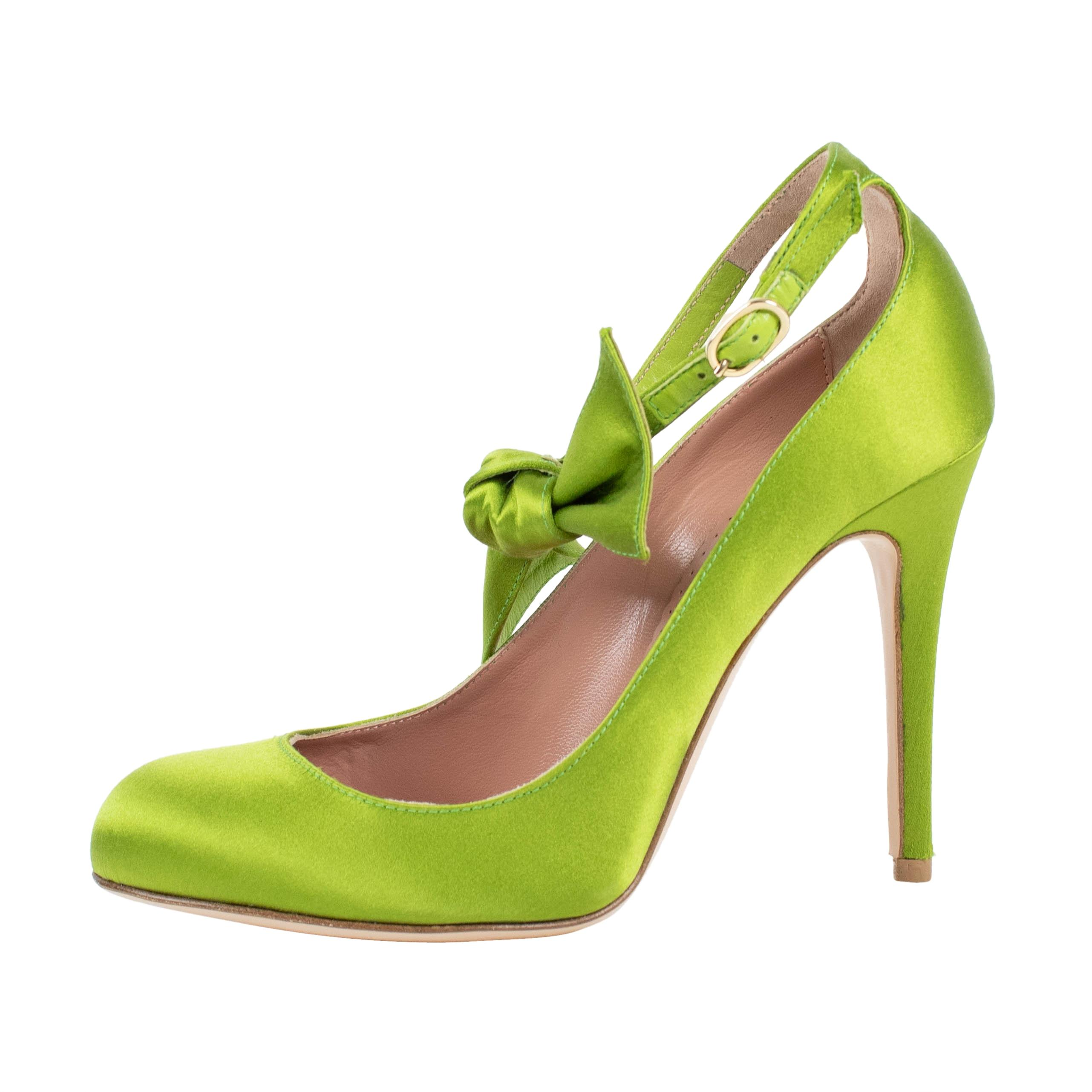 39ca25bbe877 RED Valentino Green With Bow Leather Pumps Pumps Pumps Size US 7 Regular  (M
